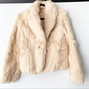 Beautiful Vintage Rabbit Fur Coat with satin